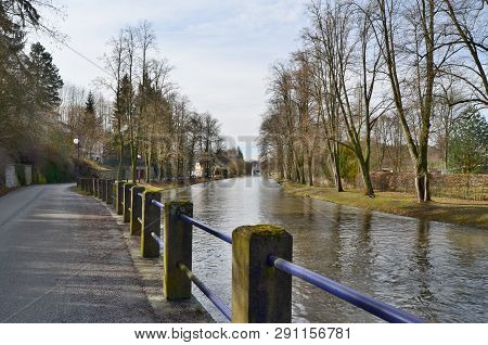 River Nezarka, Street Pod Vrchy, Town Jindrichuv Hradec, South Bohemia, Czech Republic