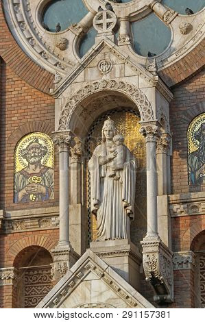 Szeged, Hungary - March 11, 2011: Madonna Statue And Fresco Icons At The Votive Church Cathedral In