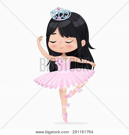 Cute Small Princess Girl Ballerina Dance Isolated. Caucasian Ballet Dancer Sweet Baby Character Jump