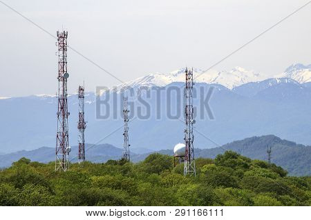 4g And 5g Cell Site, Communication Mast, Satellite Communication Antenna, Development Of Communicati