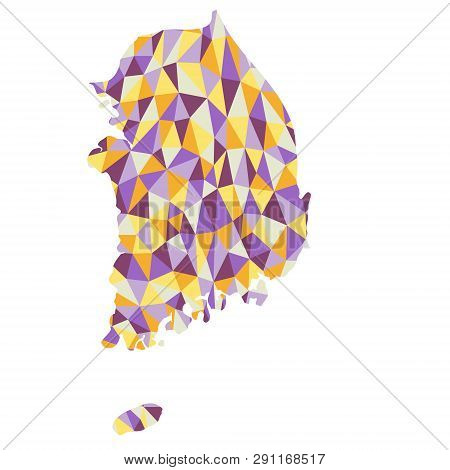 South Коrea Polygonal Map Background Low Poly Style Yellow, Orange, Blue, Purple Colors Vector Illus