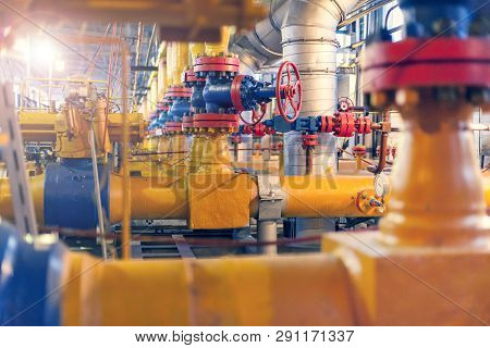 Oil, Gas Industry. Gas Conditioning Equipment And Valve Armature. Gas Booster Compressor Station, Ga