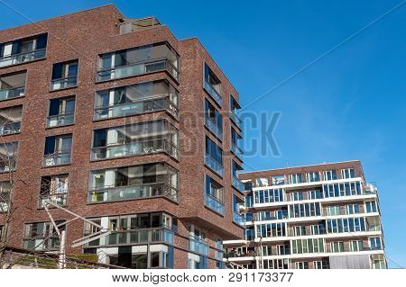 Modern Townhouses In The Hafencity In Hamburg, Germany