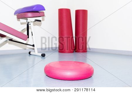 Various Colorful Gymnastics Material For Exercises At The Physiotherapist