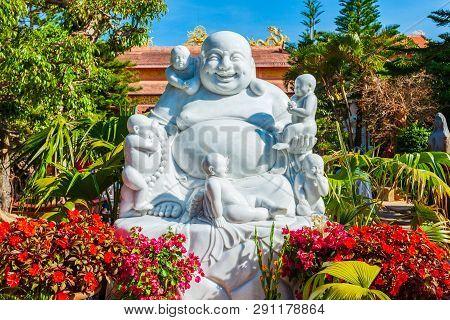 The Golden Buddha Statue Or Thien Vien Van Hanh In Dalat City In Vietnam