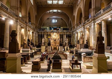 Cairo, Egypt, 25.05.2018 Inside The Museum Of Egyptian Antiquities Home To Extensive Collection Of A