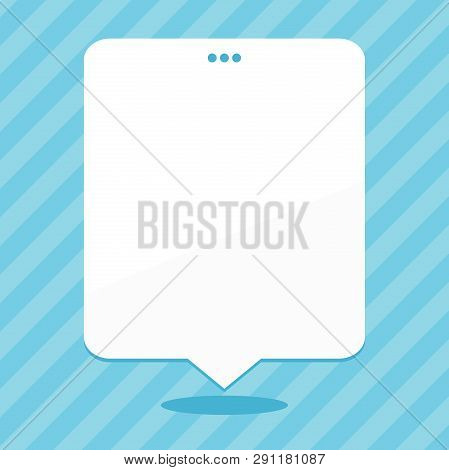 Blank Rectangular Shape Speech Bubble with 3 Punch Holes. White Empty Text Balloon Floating with Triple Puncture on Top. Creative Background Space for Announcements and Clippings. poster