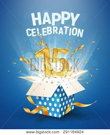 15 Th Years Anniversary And Open Gift Box With Explosions Confetti. Isolated Design Element. Templat