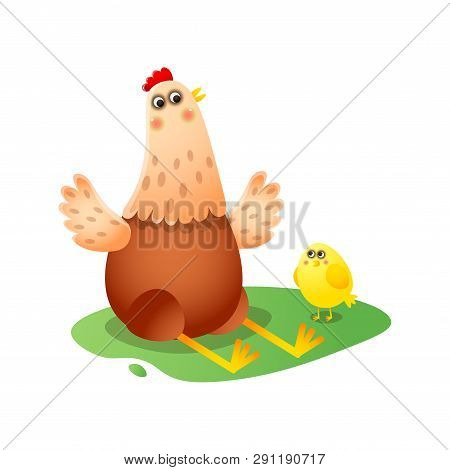 Chicken Playing, Telling Fairy Tales, Showing Something To Little Yellow Clinging
