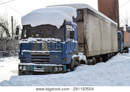 Truck. Refractor. Littered With Snow. Snow Drifts, Unpeeled Roads. Impassable Snow Drifts.
