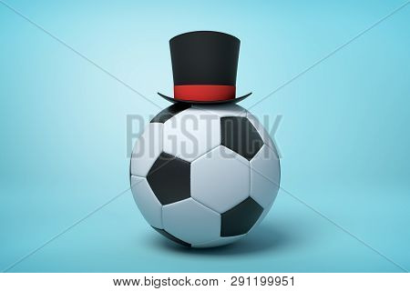 3d Rendering Of Football Wearing Black Tophat With Much Copy Space On The Rest Of Light Blue Backgro