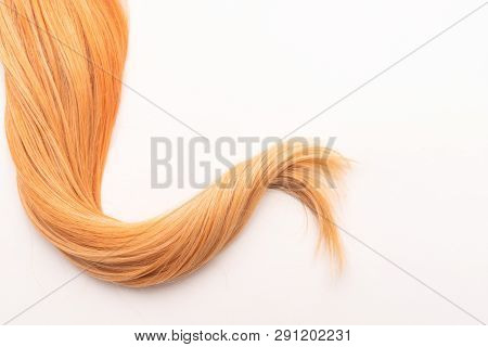 Human, natural honey-colored blond hair on white isolated background. Stylish, fashionable colors th