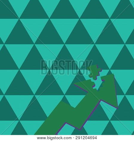 Color Arrow Illustration Pointing Upward with Detached Part like Jigsaw Puzzle Tile Piece. Creative Background Concept for Finding Solution, Financial Strategies and Map Direction. poster