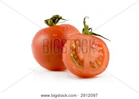Two Red Tomatos Isolated On White Background