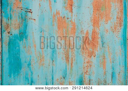 Old Grunge Rusty Metal Metallic Colored Background. Colorful Blue And Orange Abstract Metallic Surfa
