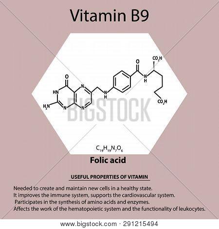 Vitamin B9. Folic Acid Molecular Chemical Formula. Useful Properties Of Vitamin. Infographics. Vecto