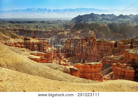 Charyn Canyon, A Landmark Of Kazakhstan. View Of Hills And Mountains. Natural Landscape.