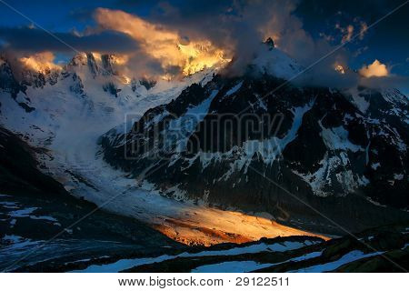 Sunset light over Lescahaux Glacier and Les Grandes Jorasses, France