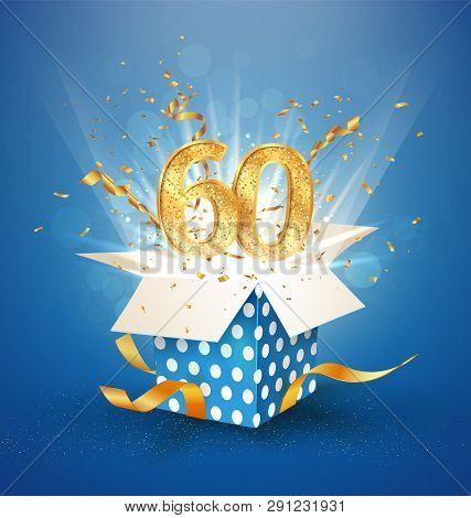 60 Th Years Anniversary And Open Gift Box With Explosions Confetti. Isolated Design Element. Templat