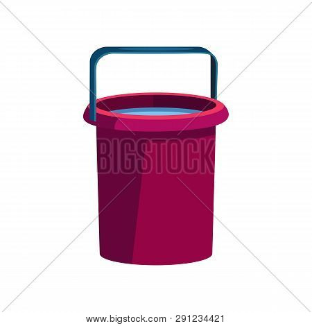 Dark Pink Bucket Illustration. Basket, Home, Cleaning. Houseware Concept. Vector Illustration Can Be
