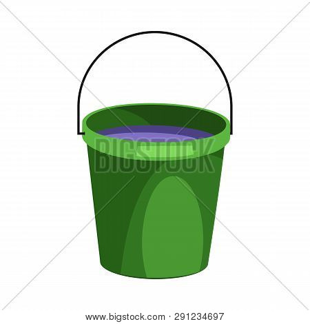 Green Bucket Illustration. Basket, Home, Cleaning. Houseware Concept. Vector Illustration Can Be Use