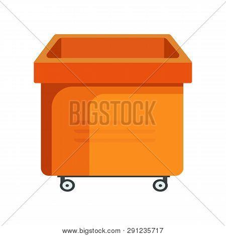 Square Orange Bucket Illustration. Basket, Home, Cleaning. Houseware Concept. Vector Illustration Ca
