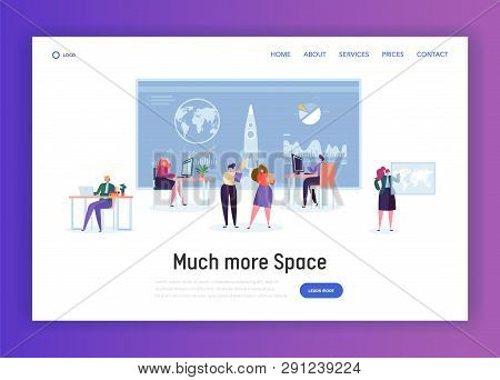 Space Administration Office Landing Page. Character Work On Aeronautics And Aerospace Research. Engi