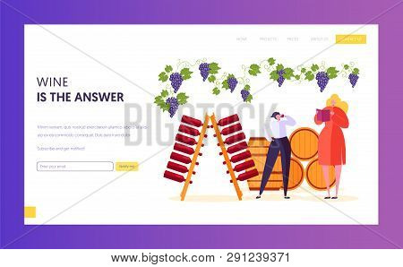 Wine Professional Taster make Examination and Evaluation Landing Page. Sommelier Describe Perceived Flavors, Aromas and General Characteristic Website or Web Page. Flat Cartoon Vector Illustration poster