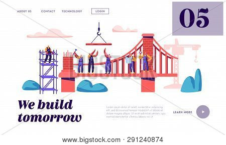 Builder Construct Brick Bridge With Construction Crane And Hammer Landing Page. Architect Worker Bui