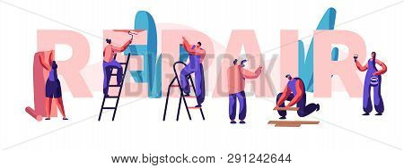 Character Fix House, Office Or Shop Banner. Diagnosis And Repair Of Problem In A Home. Glues Wallpap