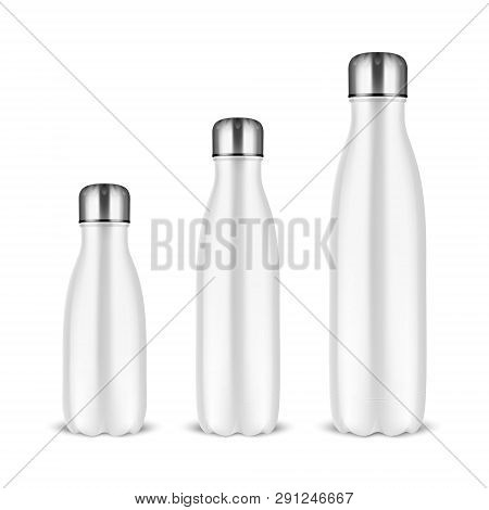 Vector Realistic 3d White Empty Glossy Metal Reusable Water Bottle Set With Silver Bung Closeup On W