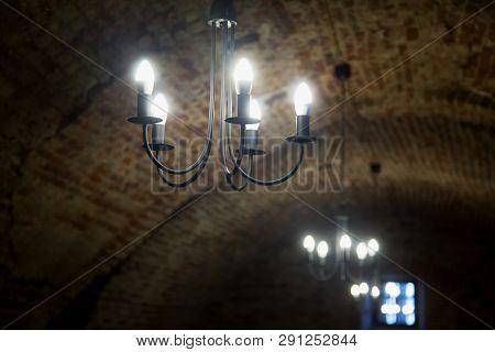 Lights In An Old Castle Corridor