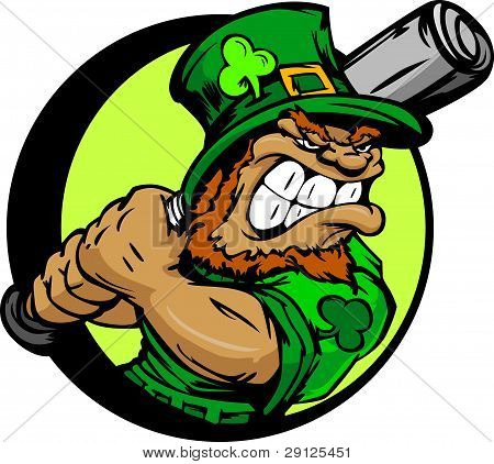 St. Patricks Day Leprechaun Holding Baseball Bat