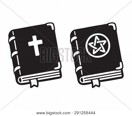 Holy Bible With Cross And Dark Magic Spell Book With Pentagram Cartoon Drawing. Simple Black And Whi