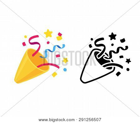Party Popper With Confetti, Cartoon Emoji And Black And White Icon. Isolated Vector Illustration Of
