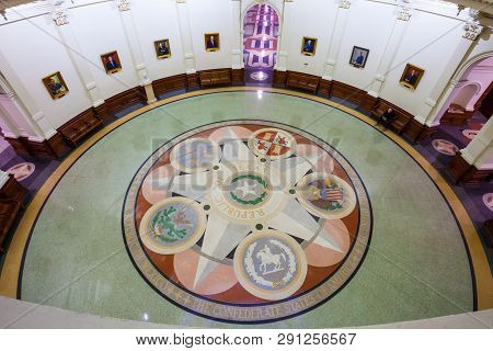 Austin, Texas - March 28, 2018 - Seals On The Floor Of The Texas State Capitol Building. Rotunda Are