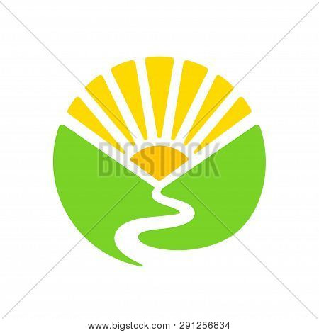 Simple Logo With Valley, River And Rising Sun In Circle Shape. Green Hills And Sunrise Landscape. Mo