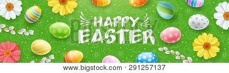 Happy Easter Banner With Colorful Easter Eggs, Willow Branches, Flowers And Hand Drawn Pattern. Call