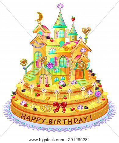 Fantastic Fantasy Funny Cake Vector Photo Free Trial Bigstock Funny Birthday Cards Online Inifodamsfinfo