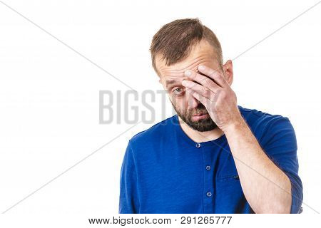 Adult Man Being Worried About Something. Guy Gesturing With Hands Feeling Guilty
