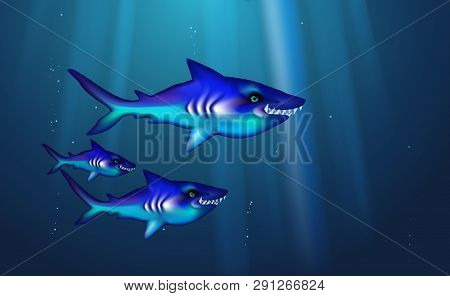 Wild Predator Sharks Blue Background Small Flock Fish. Cartoon Funny Cant Marine Life Optimized From