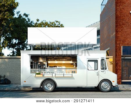 White Food Truck With Detailed Interior. Takeaway Food And Drinks. 3d Rendering.