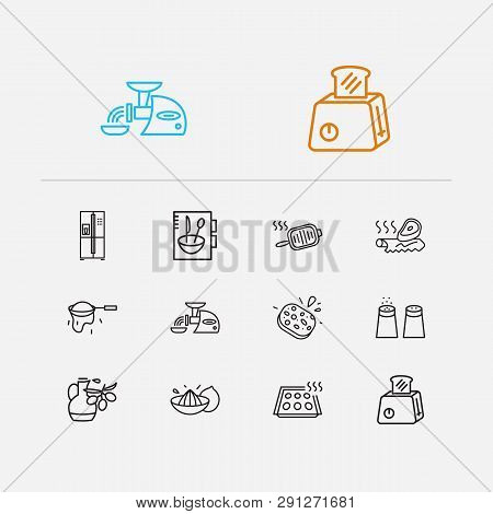 Kitchen Icons Set. Salt With Pepper And Kitchen Icons With Tin Foil, Cookery Book And Baking Sheet.
