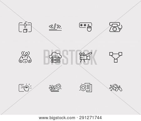 Technology Icons Set. Steamroller And Technology Icons With Virtual Interactive Control, Video Camer