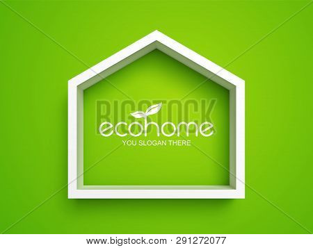 White Frame In Shape Of House On Green Background. Eco Home Real Estate Design Template