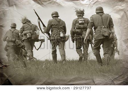 German soldiers. WW2 reenacting