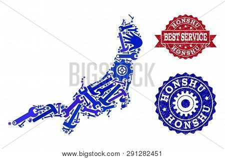 Best Service Composition Of Blue Mosaic Map Of Honshu Island And Rubber Stamps. Mosaic Map Of Honshu
