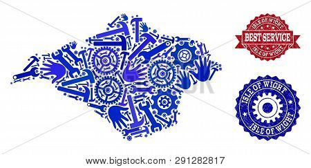 Best Service Combination Of Blue Mosaic Map Of Isle Of Wight And Rubber Seal Stamps. Mosaic Map Of I