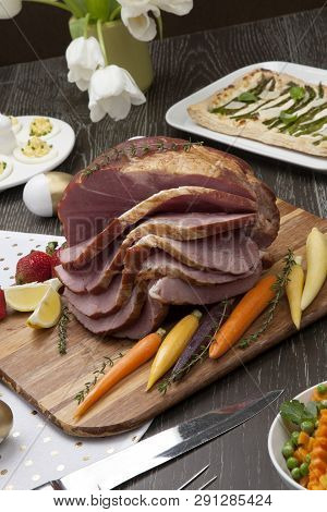 Delicious Spicey Roasted Ham With Deviled Eggs, Asparagus Parmesan Pastry, Butternut Squash With Gre