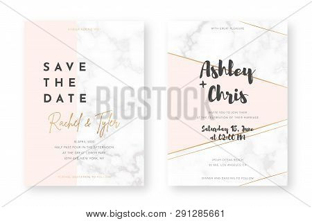 Wedding Card Design With Golden Frames And Marble Texture. Wedding Announcement Or Invitation Design